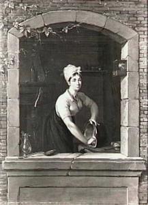 Een keukenmeid bij een venster