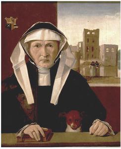 Portret van Beetke van Raskwerd (ca. 1485-1554), echtgenote van Wigbolt van Ewsum, heer van Middelstum en van de Nienoord in Leek (ca. 1465-1528). Op de achtergrond de borg Euwsum bij Middelstum, na de verwoesting door de Groningers in 1499
