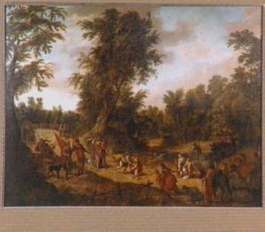 Boslandschap met de verzoening van Jacob en Esau (Genesis 33:3-4)