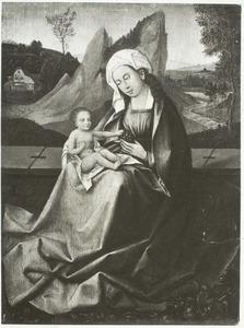 Maria met kind voor een landschap