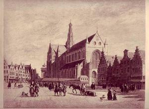 Gezicht op de Grote Markt met de St. Bavo in Haarlem
