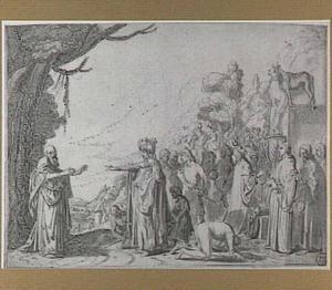 Koning Jerobeam beveelt de gevangeneming van de man Gods, maar zijn hand verstijft (1 Koningen 13:4)