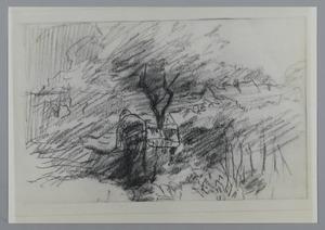 Schets van een figuur onder een boom