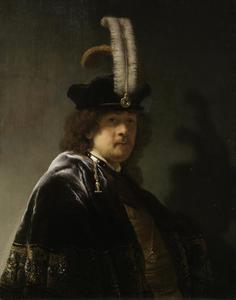 Portret van Rembrandt met gevederde baret