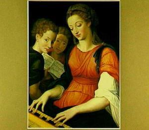 De H. Cecilia, een clavichord bespelend met twee engelen met een muziekboek met een motet van Clemens non Papa (ca. 1510-1556)