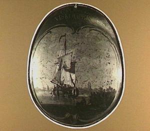 Begrafenisschild van het viskopersgilde met voorstelling van een vissersschip