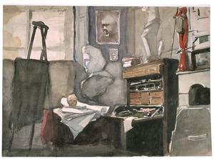 Schildersatelier van Jan Toorop met diverse attributen waaronder de Venus van Milo