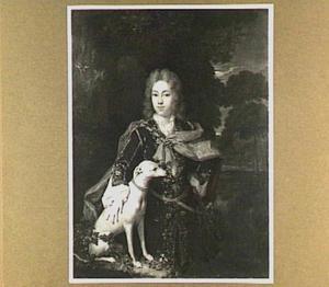 Portret van een jongen met hazewindhond voor een landschap
