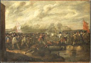Infanteriegevecht bij een brug