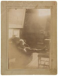 Portret van Jozef Israels slapend in een stoel