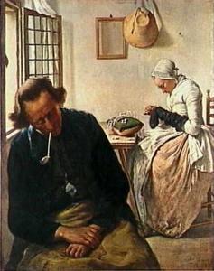 Interieur met slapende man en kousen stoppende vrouw