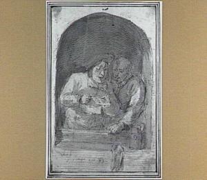 Twee zingende mannen in een venster