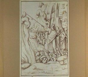 Met zijn volk op de droge oever heft Mozes zijn armen, waarna farao en zijn leger verdrinken in  de Rode Zee (Exodus 13:17-20)