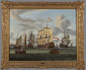 Het V.O.C.-fregat de 'Peter en Paul' op het IJ voor Amsterdam, 1697; rechts op de voorgrond een staatiesloep met tsaar Peter de Grote