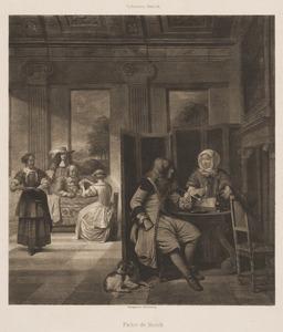 Elegant drinkend, rokend en kaartspelend gezelschap in een interieur