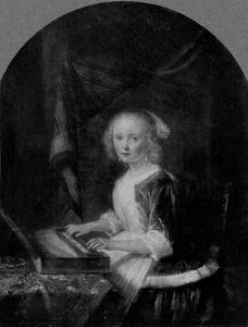Jonge vrouw, klavichord spelend