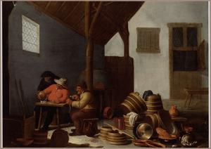 Stalinterieur met drinkende en rokende boeren