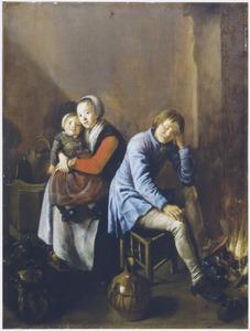 Interieur met slapende jongen bij de haard en jonge vrouw met een kind op schoot