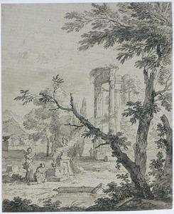 Arcadisch landschap met twee offerende figuren
