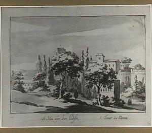 Italianiserend landschap met de Torre delle Milizie en andere Rominse motieven