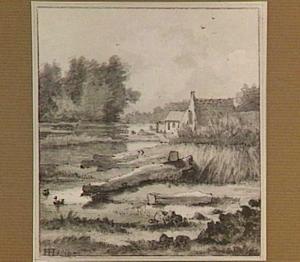 Landschap met een huisje aan het water