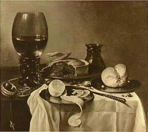 Stilleven met roemer, pastei, brood en geschilde citroen