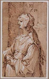Staande vrouw met sluier