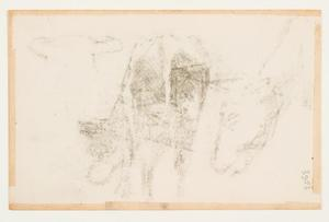 Studie van grazende koe and head of another cow