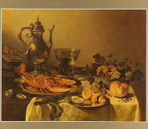 Stilleven met Jan Steen kan, viool, kreeft en oesters; in de kan een portret van de kunstenaar