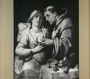 Een monnik die in de borst van een begijn knijpt