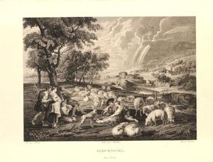 Landschap met rustende en musicerende landlieden; in de lucht een regenboog