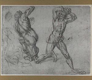 Naakte mannen, met slangen vechtend; figuren uit een Oprichting van de koperen slang (Numeri 21:4-9)