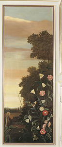 Landschap met bloemen op de voorgrond