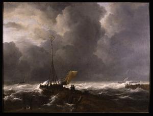 Schepen in een storm voor de kust met midden voor een golfbreker met een baken