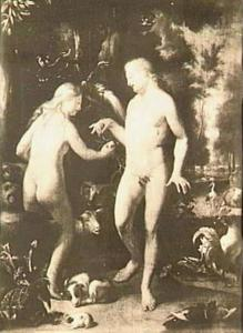 De Zondeval: Eva biedt Adam het fruit aan (Genesis 3:6)