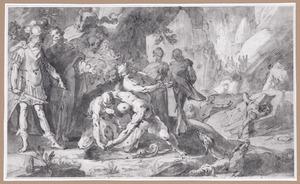 Odysseus raadpleegt Teiresias in de onderwereld (Odyssea XI, 84 e.v.)