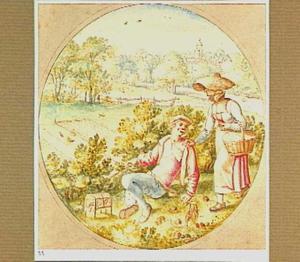 Vogelvanger en vrouw in een landschap
