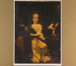 Portret van een meisje met een geit bij een fontein