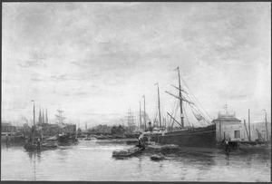 """Het stoomschip """"Amsterdam II"""" van de N.A.S.M. afgemeerd aan de Suez-steiger te Amsterdam"""