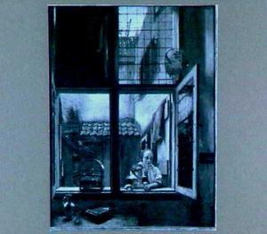 Vrouw met kind bij een raam