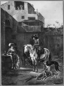 Rustende jagers op een binnenplaats (de staande jager links is een vrouw in mannenkleren)