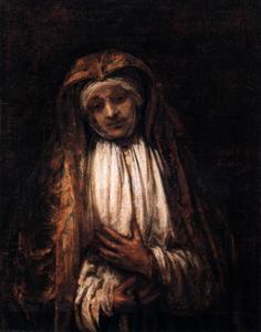 Oude vrouw met rozenkrans