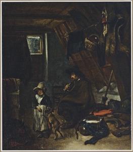 Een rokende soldaat, een jongen en een hond op een zolder