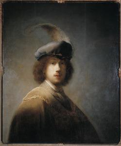 Zelfportret met gevederde baret