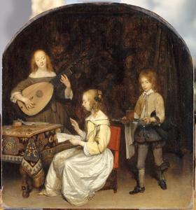 Twee musicerende jonge vrouwen, bediend door een page