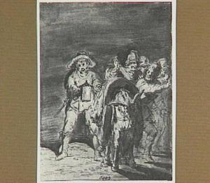 Lazarillo wordt door de politie bevrijd op het moment dat de vissers hem in het water willen werpen (Lazarillo de Tormes dl. 2, cap. 8, p. 76)