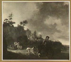 Landschap met ruiters en honden