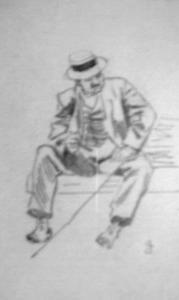 Rustende wandelaar op een bankje