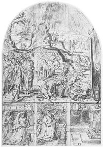 De Israëlieten verzamelen het manna (Exodus 16), en knielende stichters