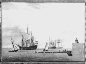 Nederlandse oorlogsschepen ter rede van Vlissingen